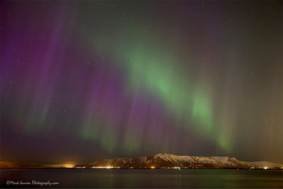 Aroura Borealis photographed from Reykjavik by Jansen Photo Expeditions photography workshops