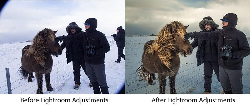 Lightroom before and after adjustments