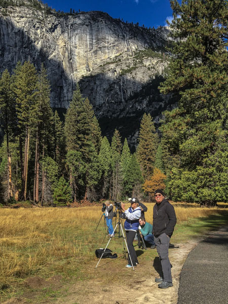 Mark Jansen of Jansen Photo Expeditions instructing clients during a small group photography workshop held in Yosemite Valley